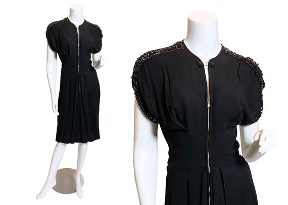 1940s Sequined Black Rayon Lombardy Dress