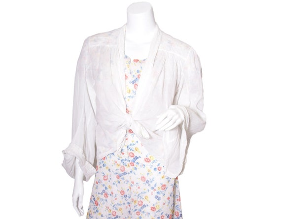 1920s White Cotton Blouse Jacket