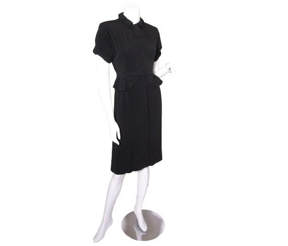 1940s Black Rayon Ruffle Collar Peplum Dress