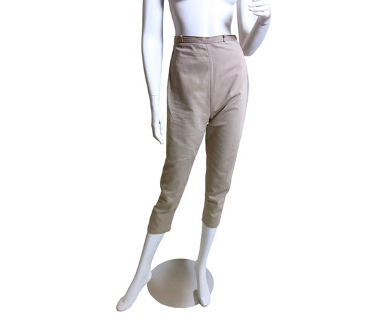 1950s Khaki Twill Cropped Cigarette Pants