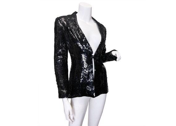 1990s Kay Unger Evening Sequin Tuxedo Jacket