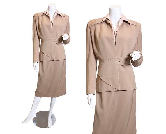 1940s Beige Wool Gabardine Suit