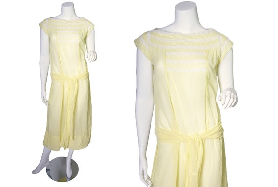 1920s Yellow Cotton Voile Dress