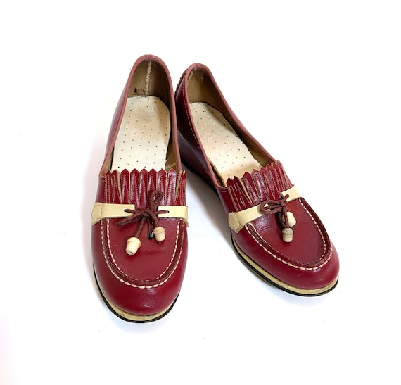 1940s Red and Cream Wedges