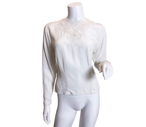 1940s White Rayon Beaded Blouse A Claret Original