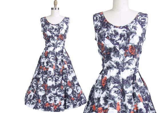 1950s Abstract Rose Print Dress with Rhinestones