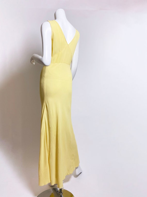 1930s Yellow Floral Rayon Bias Cut Slip Dress - image 9