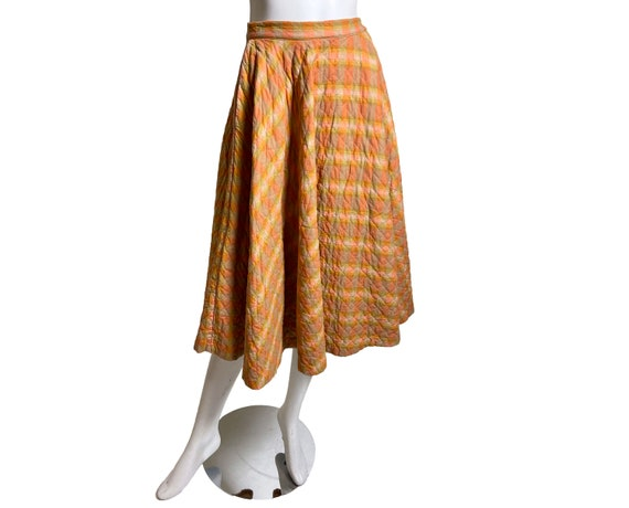 1950s Plaid Quilted Skirt