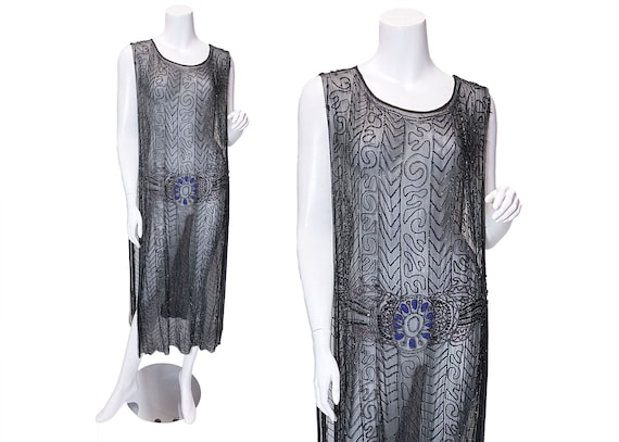 1920s Silk Chiffon Beaded Tabard