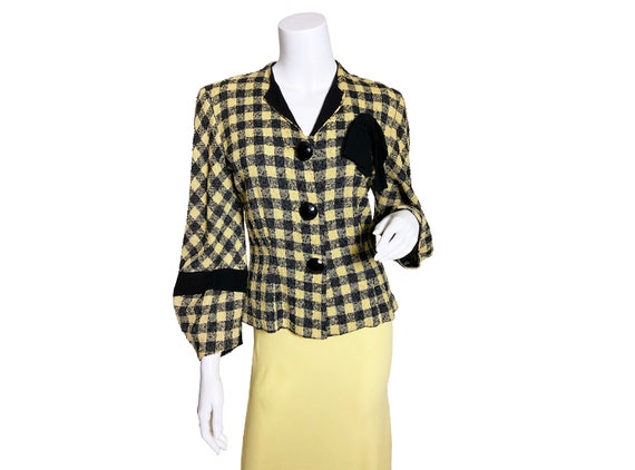 1940s Boucle Plaid Blazer