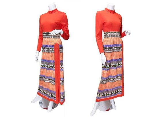 1970s Leslie Faye High Slit Floral Dress