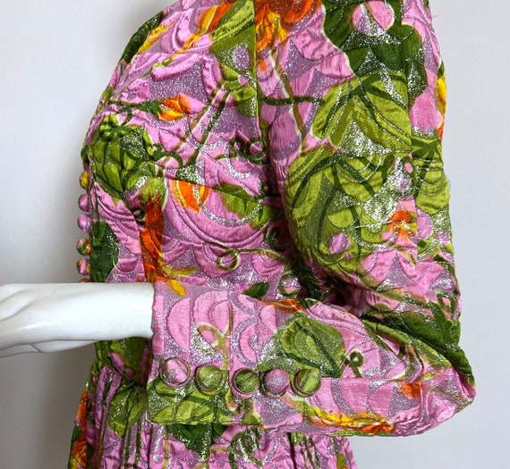 1960s  Metallic Pink Satin Brocade Dress Saks Fif… - image 4