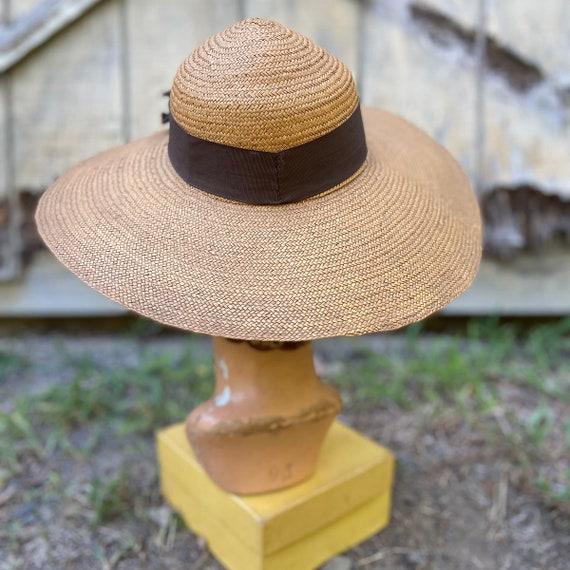 1940s Natural Straw Wide Brim Sun Hat - image 7
