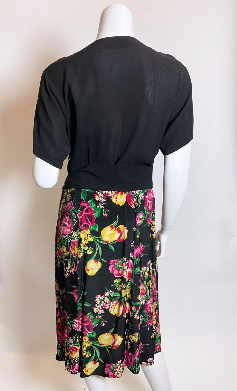 1940s Black Rayon Floral Dress