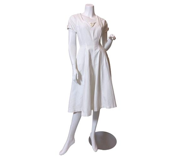 1950s Jerry Gilden White Cotton Pique Dress