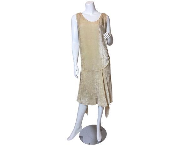 1920s Ivory Silk Velvet Dress
