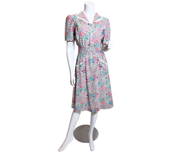 1940's Happy Home Floral Print Cotton House Dress