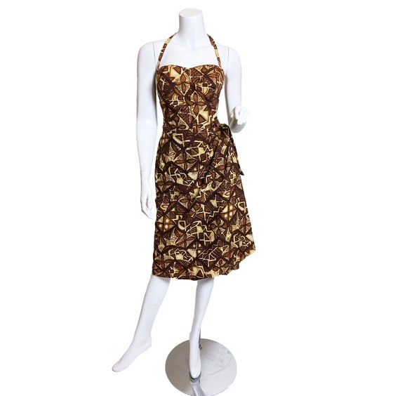 1950s Hawaiian Print Halter Sarong Dress