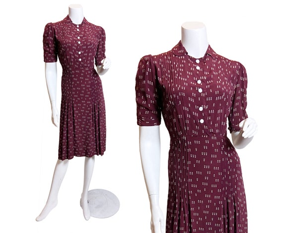 1930s Cold Rayon Flower Pot Print Dress, Small