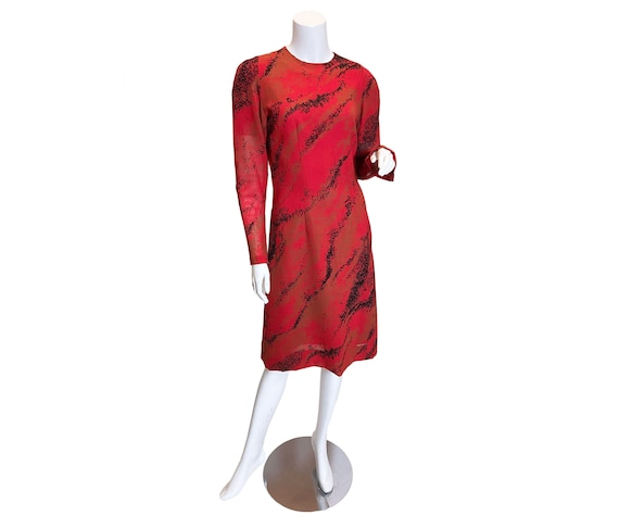 1980s Pauline Trigere Wool Printed Dress