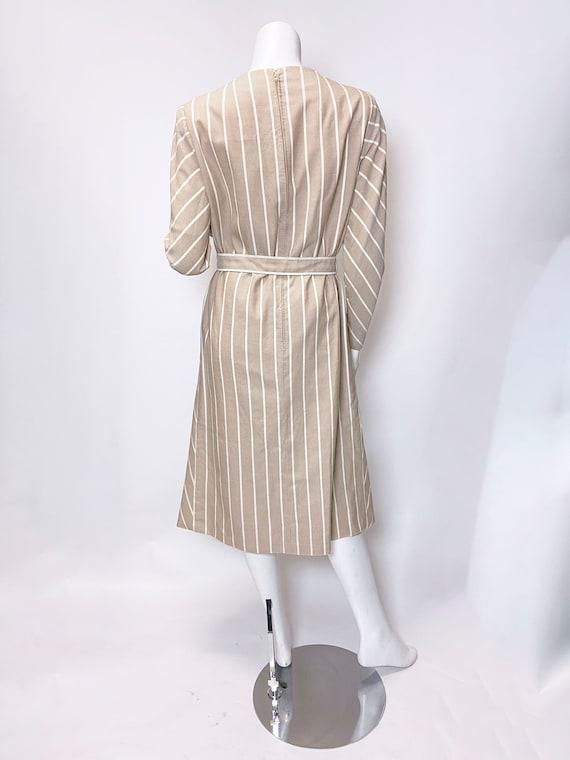 1980s Pauline Trigere Wool Stripe Dress and Cape … - image 5