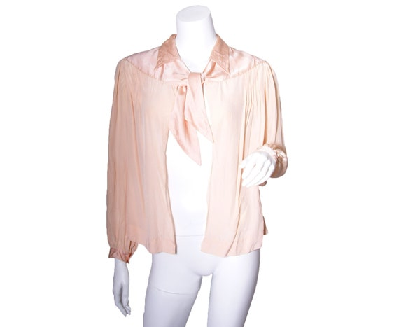 1930 Pink Silk Bed Jacket