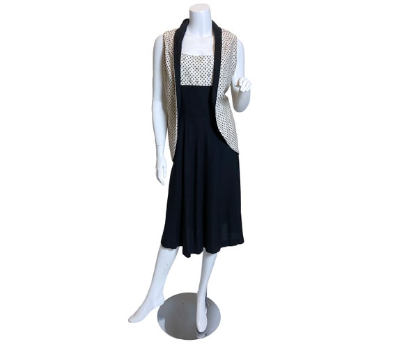 1950s Black and White Cotton Dress with Jacket