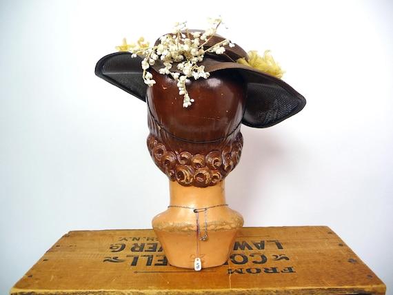 1940s Balibuntal Straw Tilt Hat with Flowers - image 4