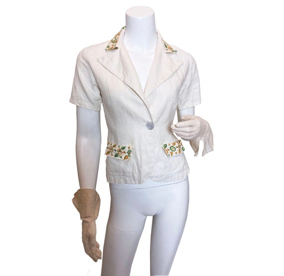 1930s Embroidered Linen Belt Back Jacket Cruise an