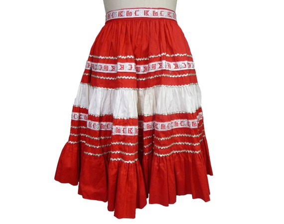 1950s 1960s Patio Skirt with Ric Rac XXS/XS