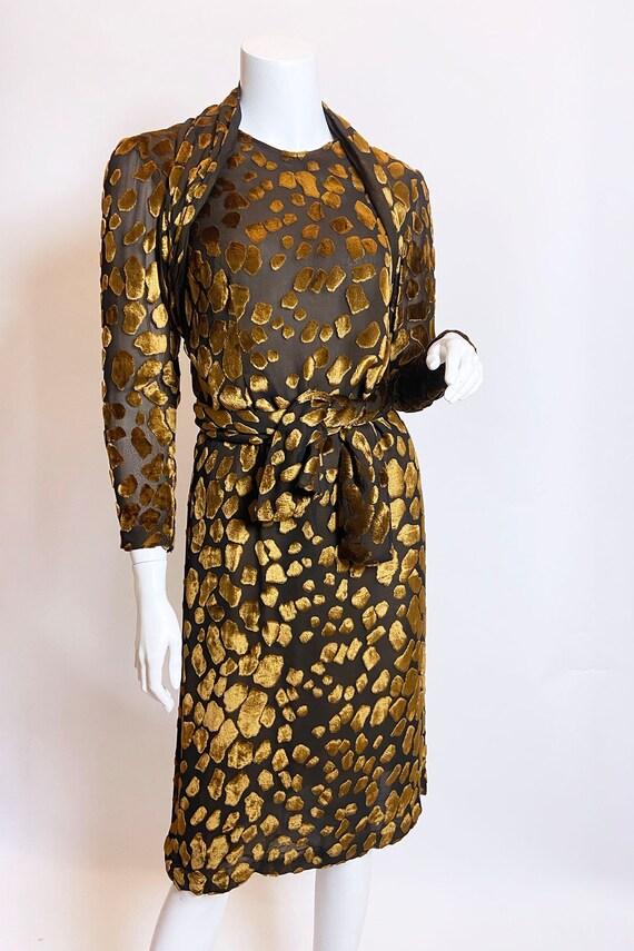 1980s Pauline Trigere Devore Velvet Scarf Dress - image 2