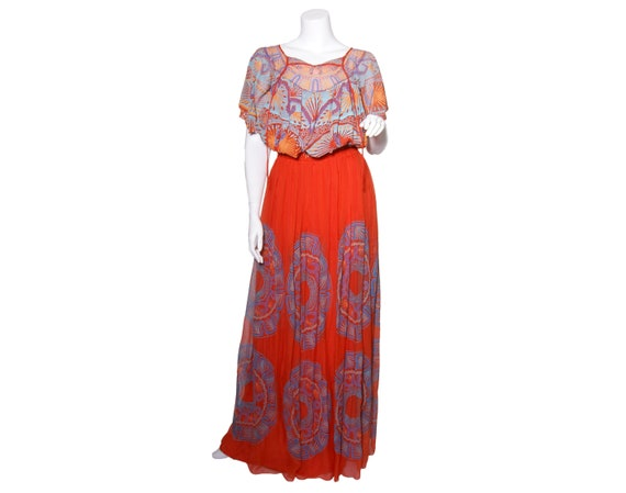 1970s Zandra Rhodes Silk Mexican Collection Dress