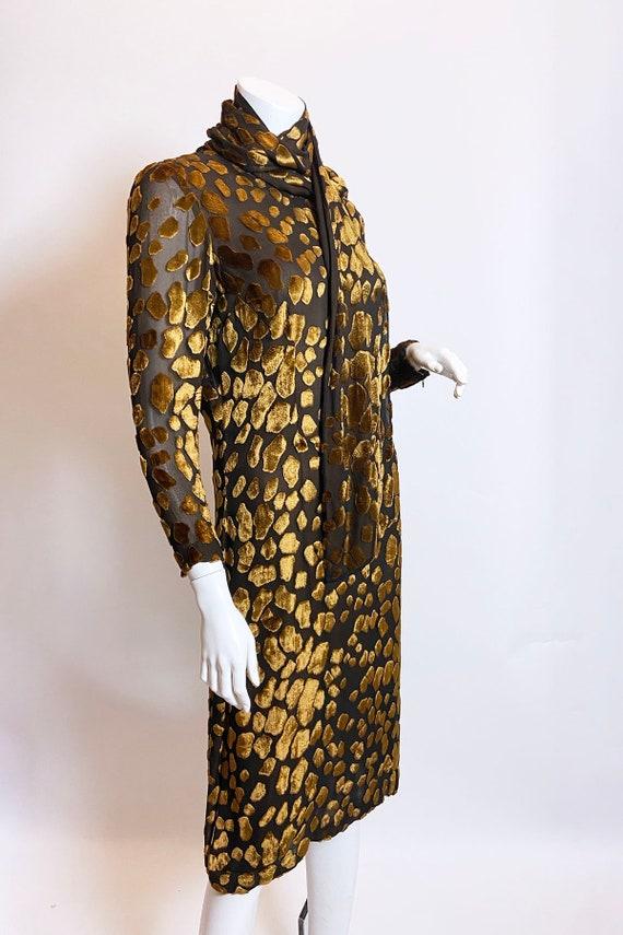 1980s Pauline Trigere Devore Velvet Scarf Dress - image 5
