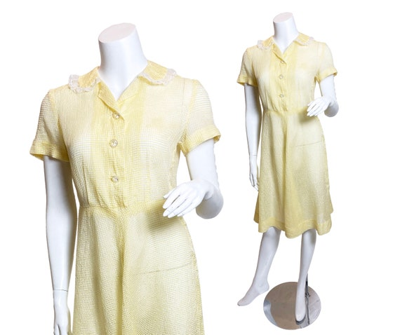 1950s Yellow Nylon Plissé Dress