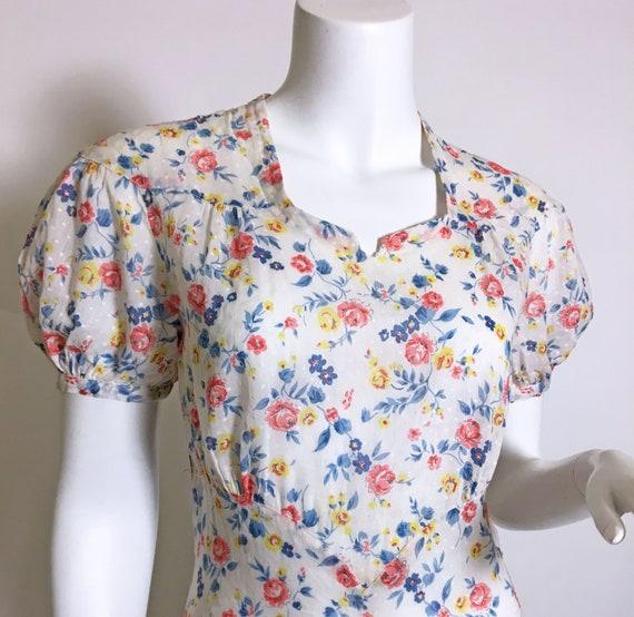 1930s Swiss Dot Cotton Floral Print Dress - image 8