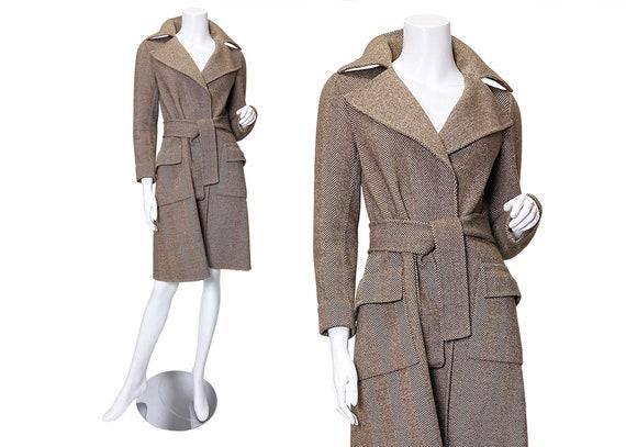 1970s Halston Herringbone Wool Trench Coat