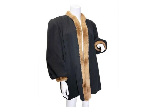 1940s Fur Trimmed Swing Coat M/L