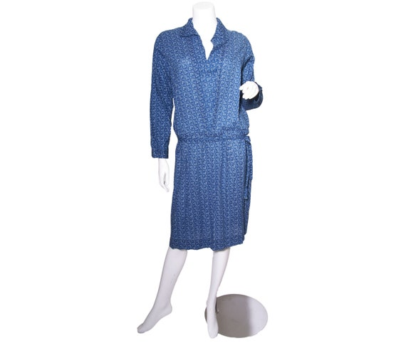 1920s Blue Calico Print Cotton Dress