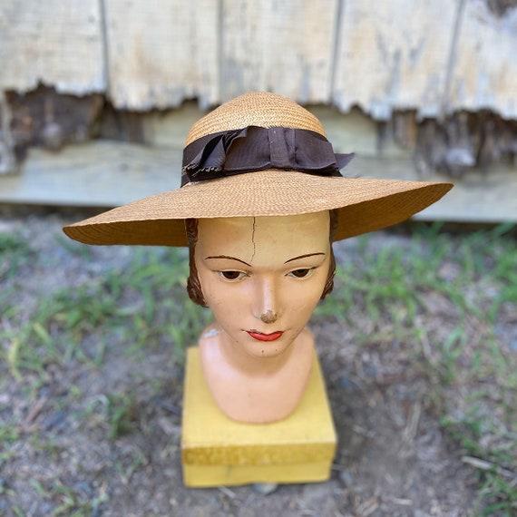 1940s Natural Straw Wide Brim Sun Hat - image 1