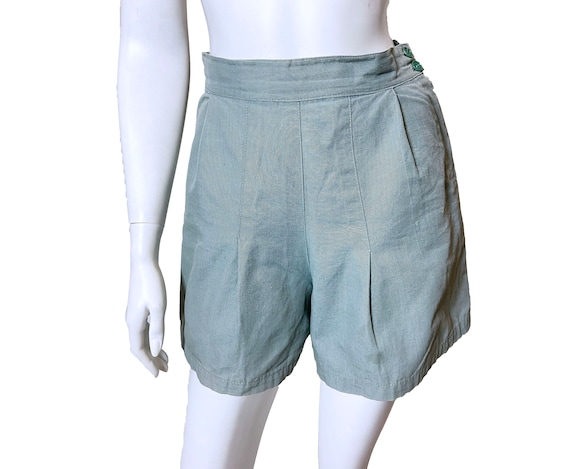 1940s Blue High Rise Pleated Shorts