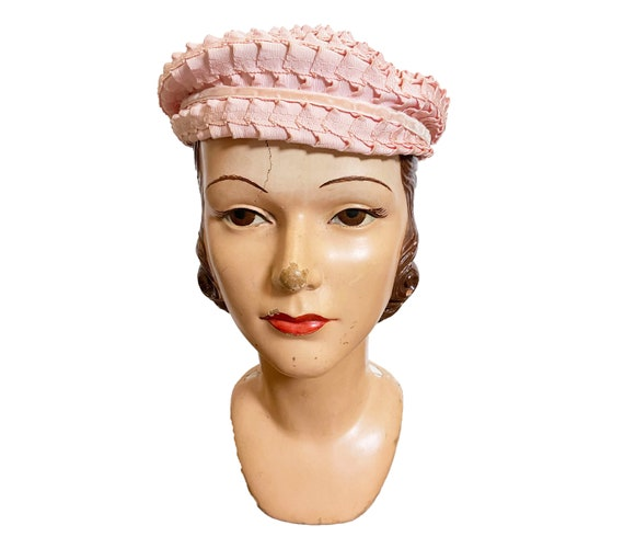 1950s to 60s Pink Ribbon Beret