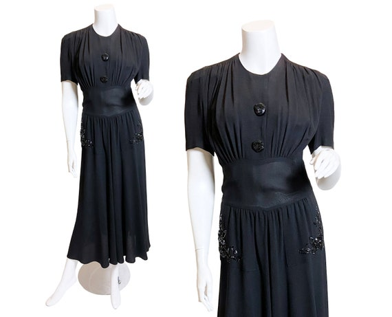 1940s Rayon Crepe Dress with Sequined Pockets, S/M