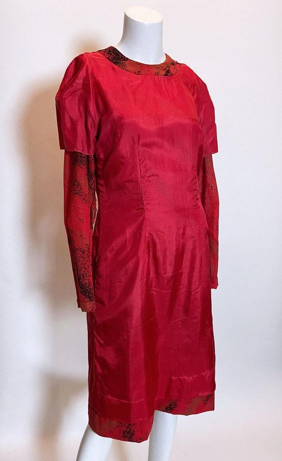 1980s Pauline Trigere Wool Printed Dress - image 6