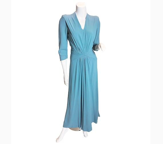 1940s Blue Rayon Crepe maxi Dress