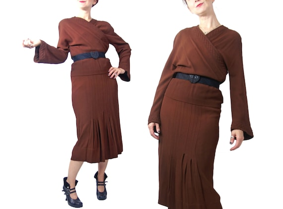 1930s Brown Rayon Crepe Dress with Trapunto Stitch