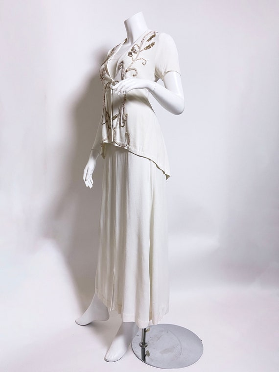 1940s White Rayon Sequin Dress and Jacket Set - image 2