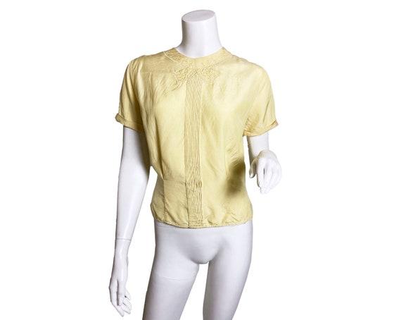 1940s 50s Bozart Yellow Rayon Top