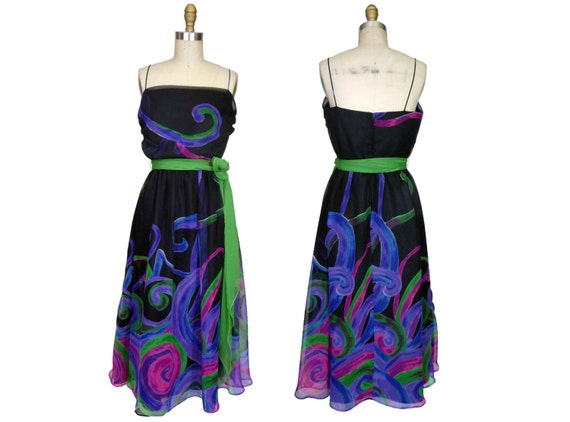 1970s Lillie Rubin Chiffon  Dress  Swirl Print