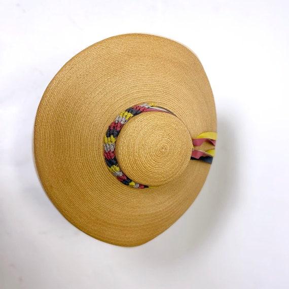 1940s Wide Brim Straw Platter Sunhat - image 4