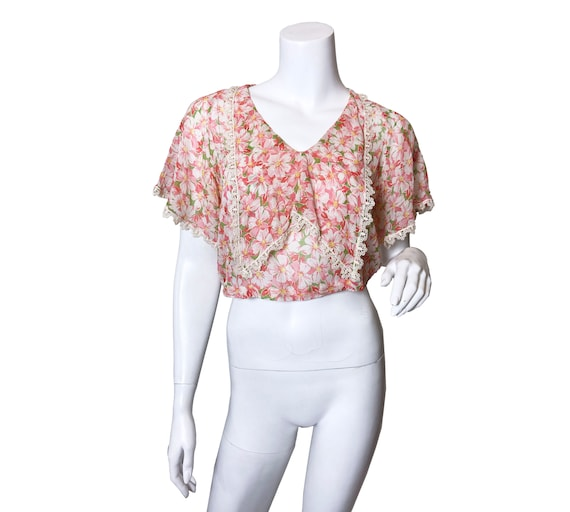 1920s Printed Floral Blouse